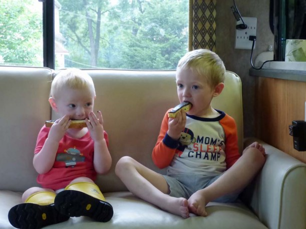 a Cam and Owen Eating Biscotti