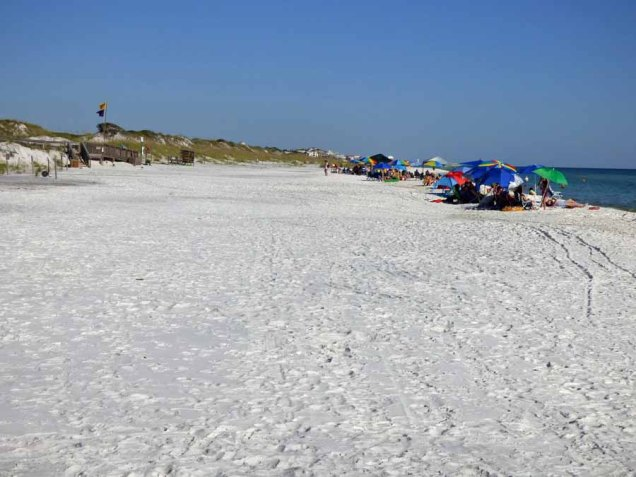 b Beachgoers Clustered at Boardwalk