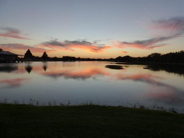 b Sunset on Lake