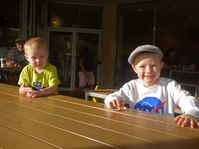 b03 Cam and Owen at Bagel Shop