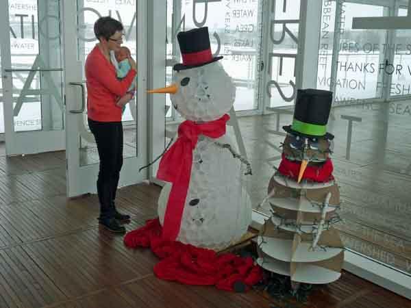 Log Plastic Cup Snowman