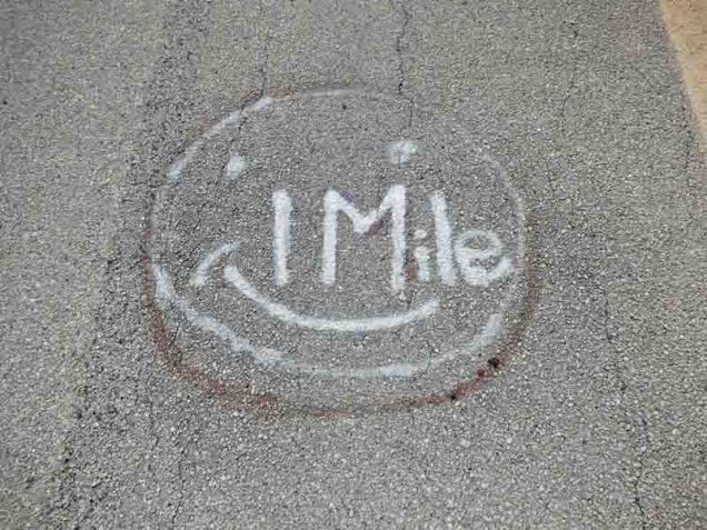b One Mile Mark on Old Seven