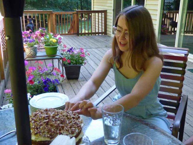 b Jessica Serving Cake